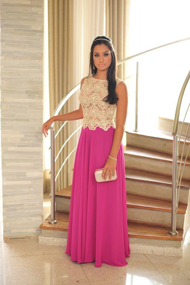 Pink e pérolas | Vestido largo | Pinterest | Vestiditos, Vestidos de ...