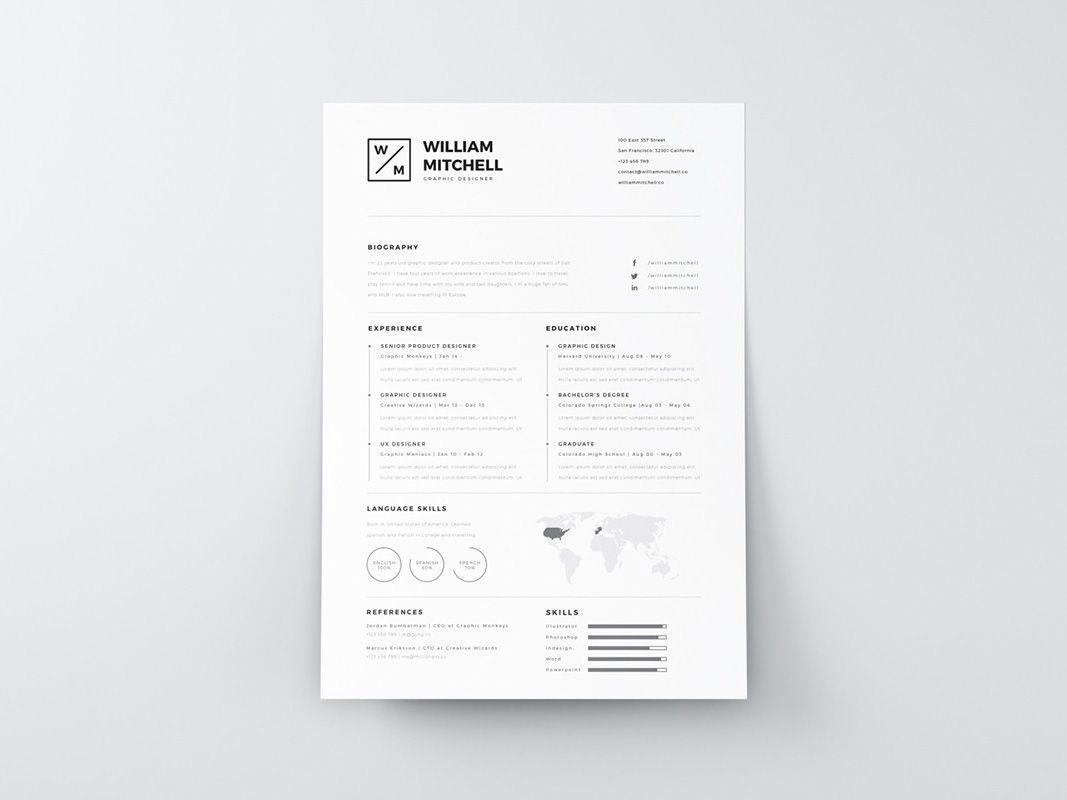 Free Clean Simple Resume Template In Psd And Ai Format Free