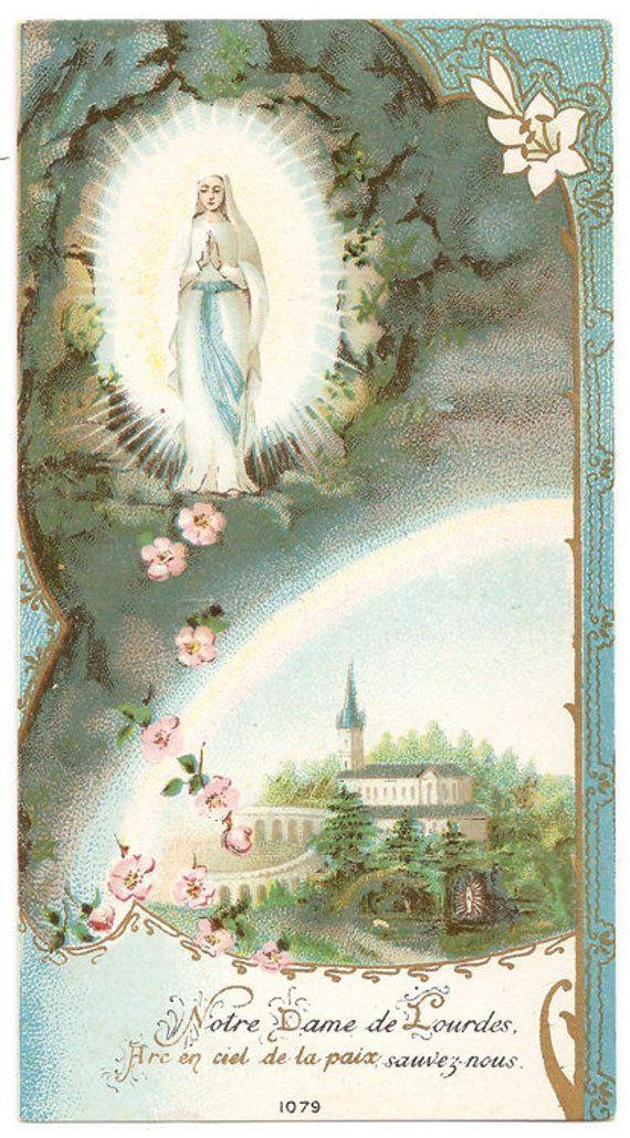 Our Lady of Lourdes & Basilica Antique Vintage French Catholic Holy Prayer Card, Catholic Gift, Heal