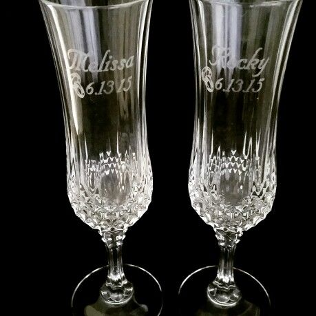 Crystal Champagne Flutes Laser Engraved For The Bride And Groom