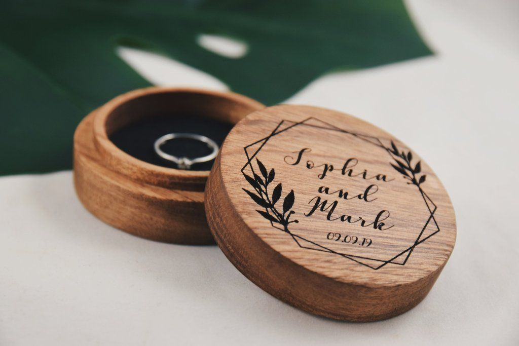 Wood Engagement Ring Box Handmade Engraved