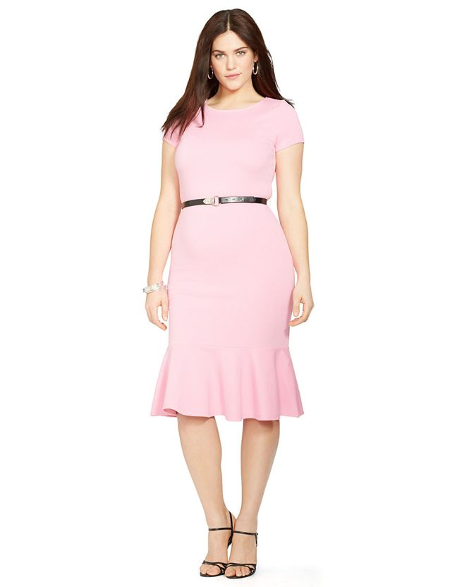 Lauren Ralph Lauren Plus Belted Peplum Dress Plussize