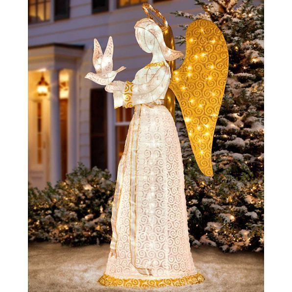 Christmas 60 Lighted Angel Glitter Dove Outdoor Yard Prelit Lawn Figure Decor Unbranded