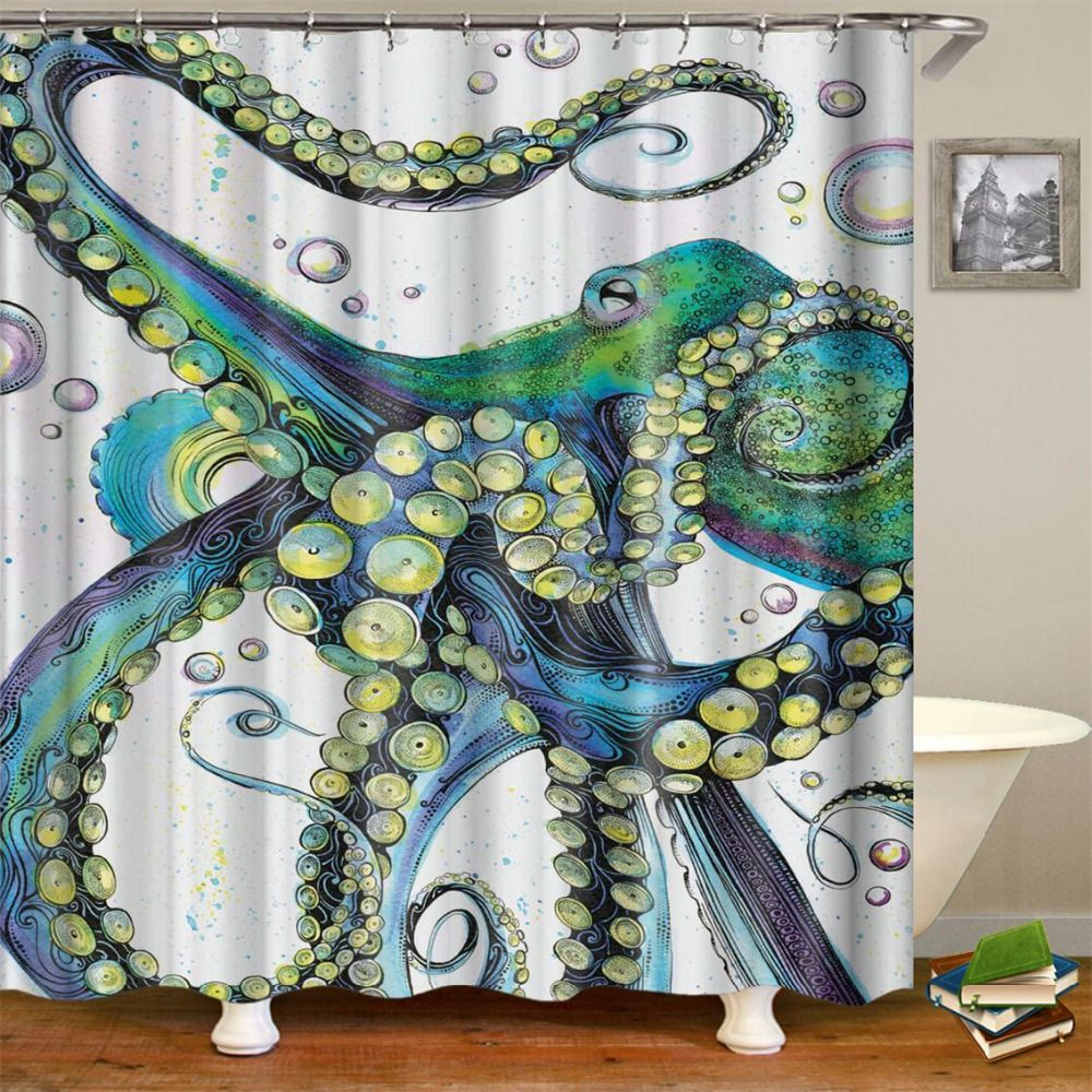 Green Octopus Shower Curtain 1 Pc With Images Octopus Shower