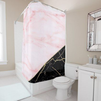 Rose Gold And Black Marble Shower Curtain Zazzle Com Shower