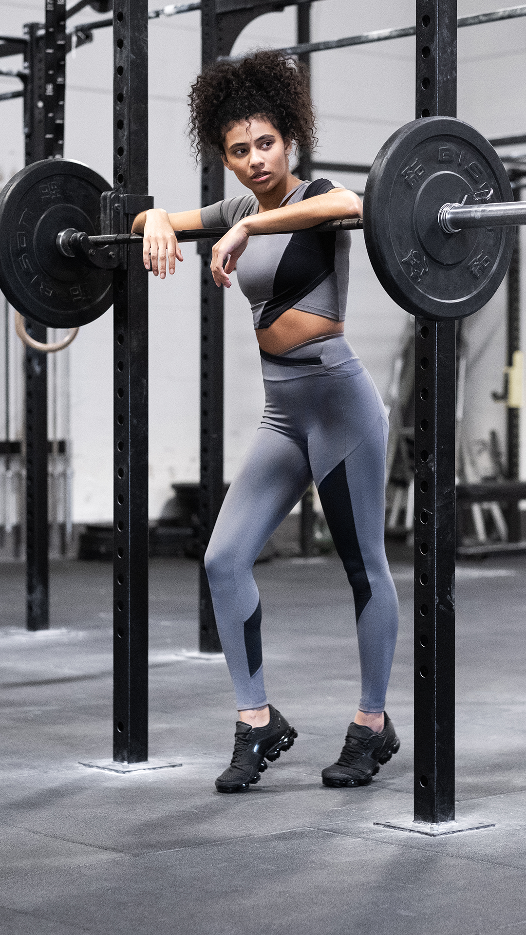 a706fa8f12fb1 Asymmetric aspirations, wearing the Asymmetric Crop Top and Leggings in  Smokey Grey/ Black. #Gymshark #Gym #Sweat #Train #Perform #Seamless # Exercise ...