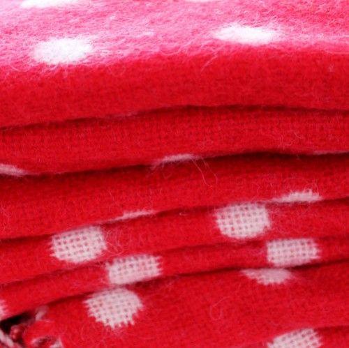 Foxford Red Spot Lambswool Blanket
