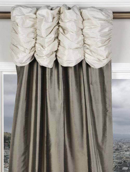 ruched valance curtains pearl white grey silk