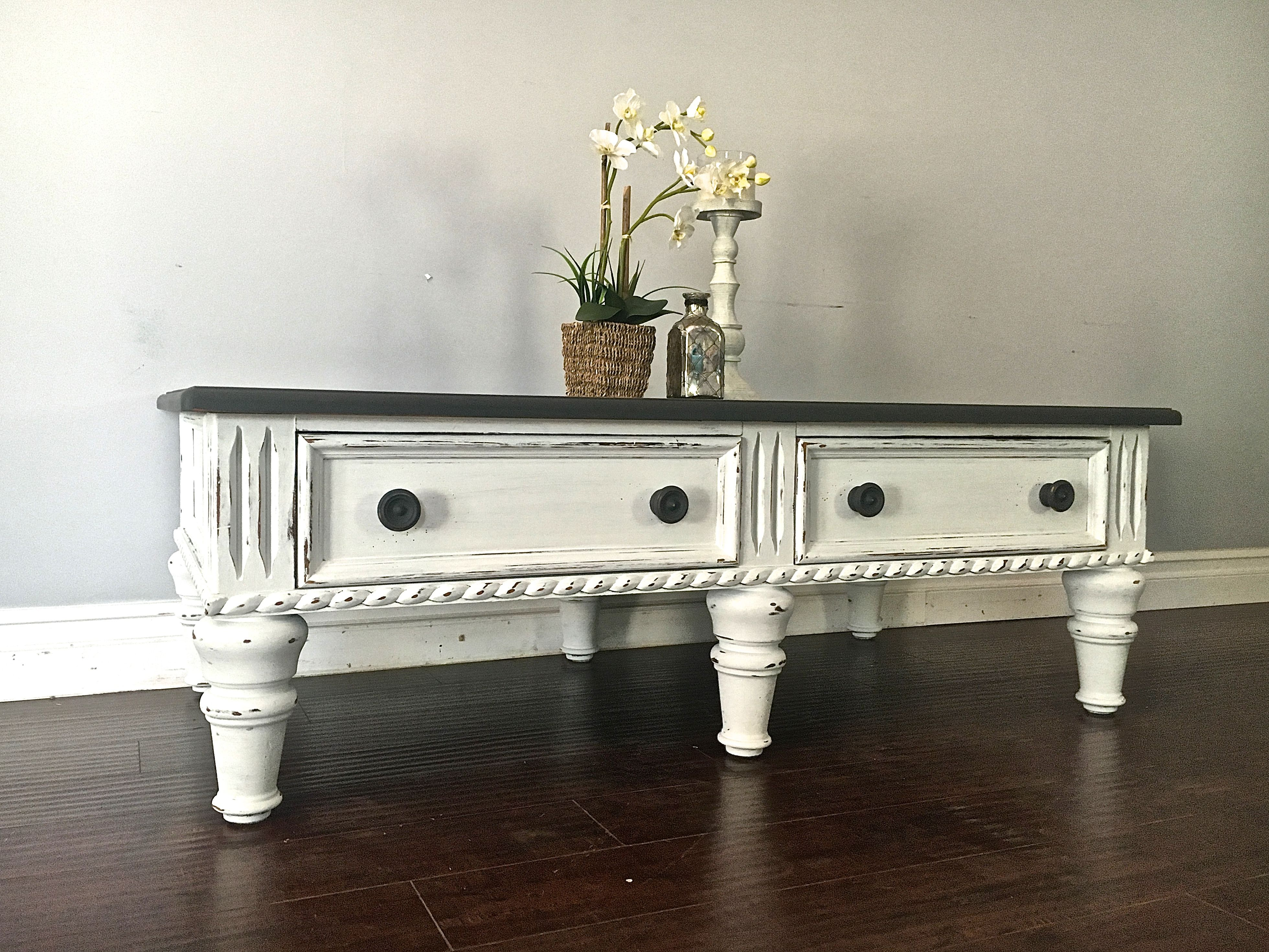 White & Gray 4 Drawer Coffee Table - Custom Order for Jess & Ash