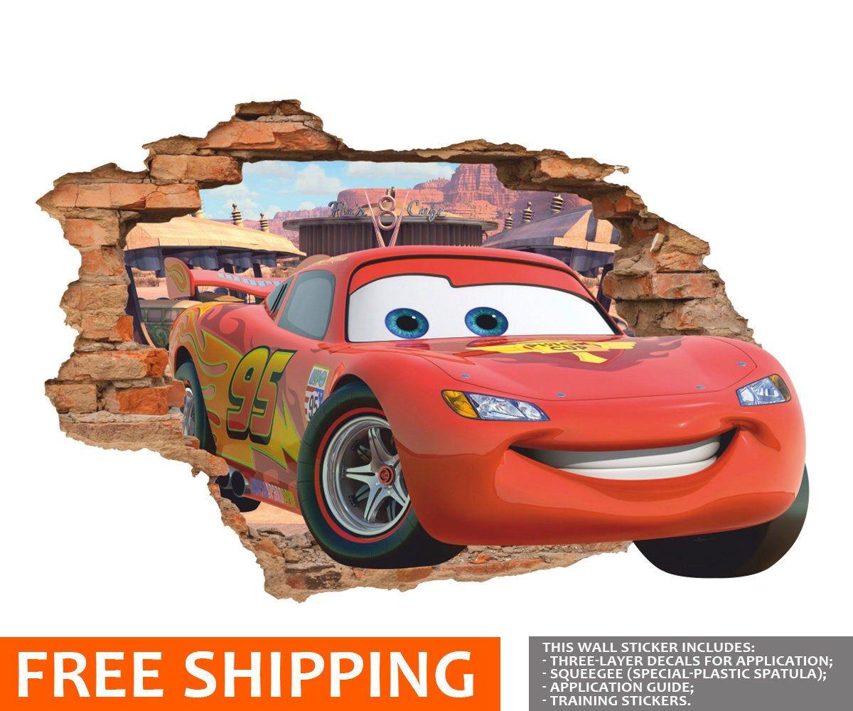 Disney Cars 3d Wall Decal Lightning Mcqueen Wall Sticker Etsy 3d Wall Decals Kids Room Wall Art Disney Cars Party [ 1000 x 1200 Pixel ]