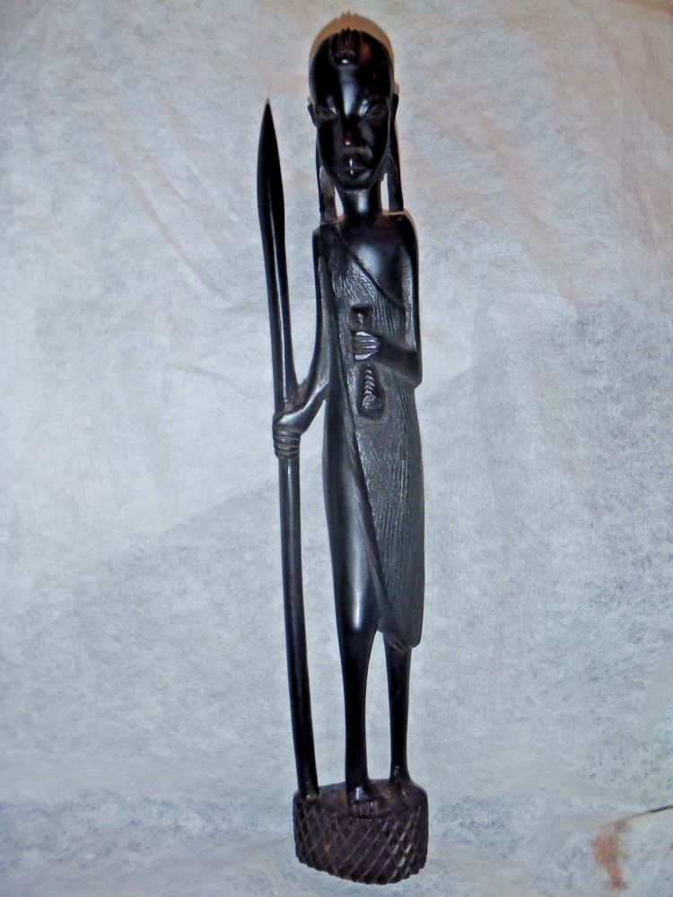 Antique Vintage African Ebony Wood Carving Statue Tribal