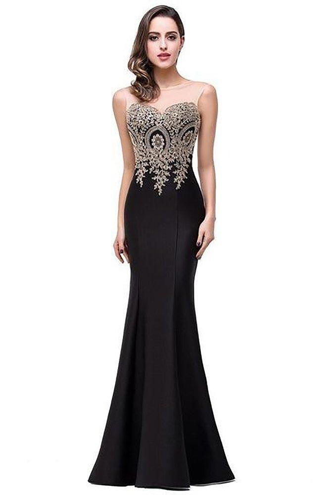 9860a65dd9ce Women's Dress Sheer Gold Applique Royal Blue Lilac Mermaid Bridesmaid  Dresses Long Wedding Party Dress Black 2