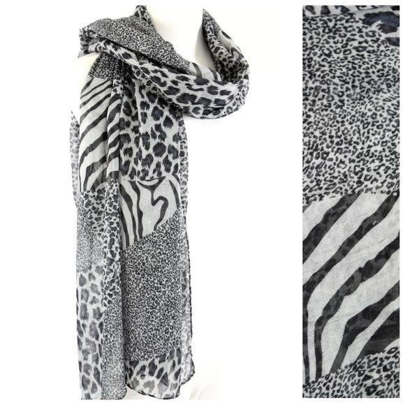 B61 leopard zebra black white long patchwork scarf ‼ price firm unless bundled with other