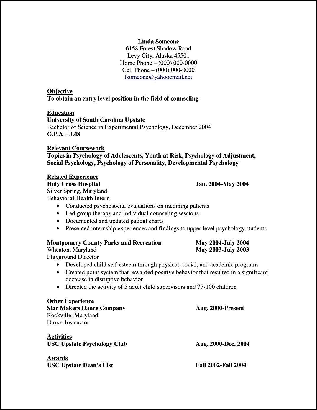 Cv Template Psychology Resume Format Psychology Resume Objective Experimental Psychology