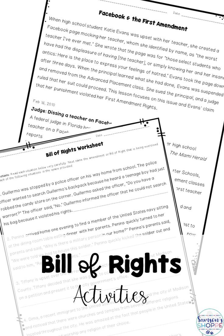 Bill of Rights Nonfiction Articles, Worksheets, Projects