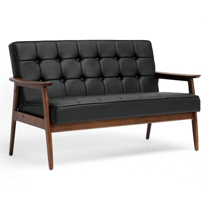 Modern Mid Century Sofa Leather Wooden Frame On Tufted Faux Is This Too Small Can You Sleep It I Want A