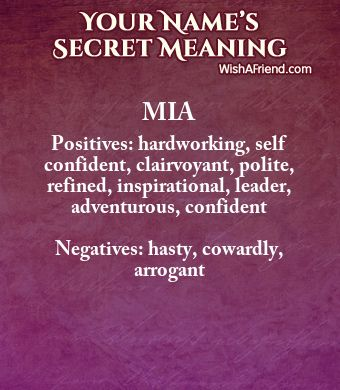 Name Secrets of Mia | Meanings of Names | Names with meaning