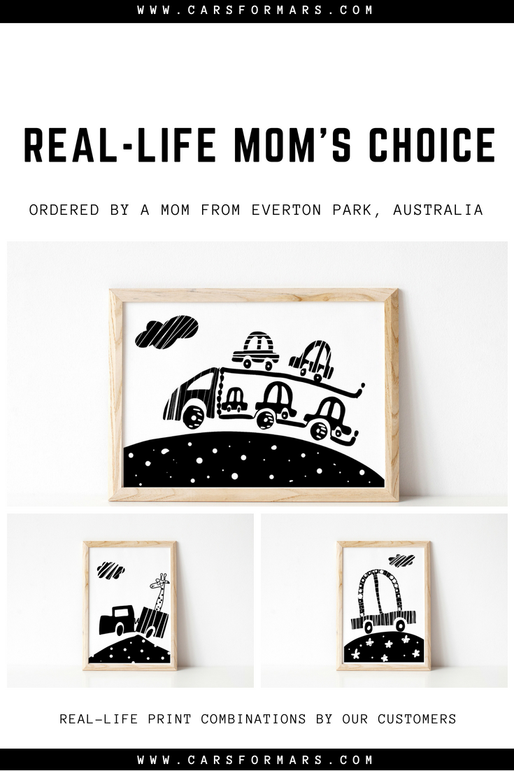 Boys truck nursery print white black nursery wall art