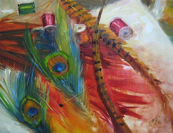 Tying Flies by Mary Maxam Oil ~ 11 x 14