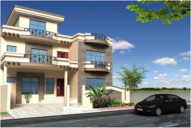 House front design pakistani style for Pakistani new home designs exterior views