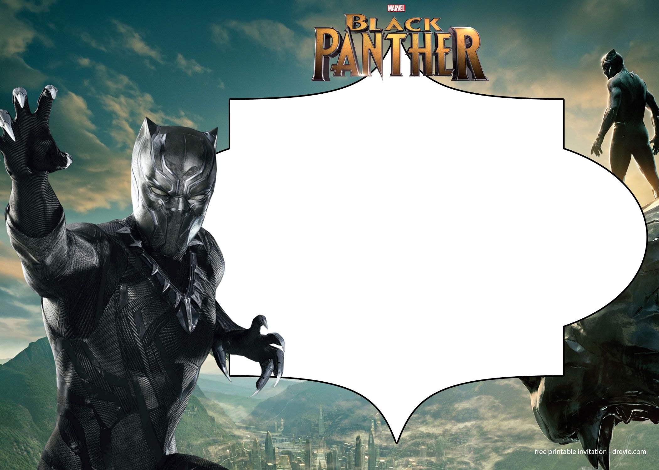 FREE Printable Black Panther Invitation Templates | Free Printable ...
