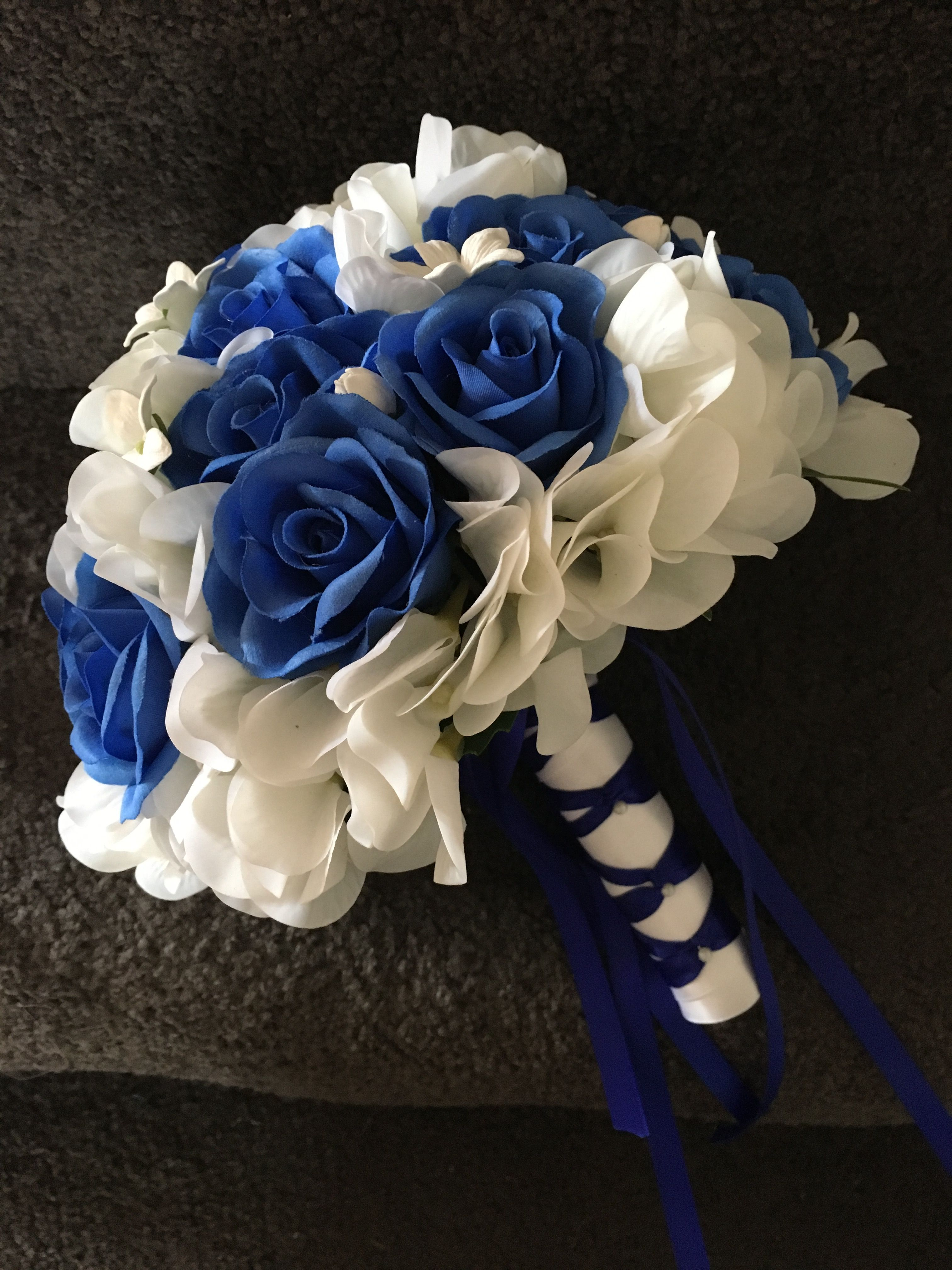 Arlanas silk royal blue and real touch white hydrangea bridal arlanas silk royal blue and real touch white hydrangea bridal bouquet izmirmasajfo