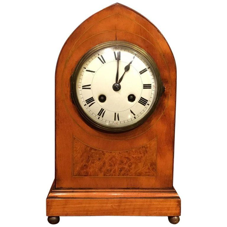 Satinwood Edwardian Period Lancet Shaped Mantle Clock #edwardianperiod