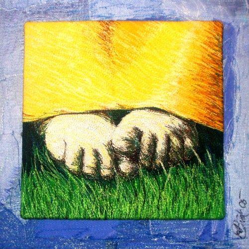 Birgitte Busk: summerfeets...den sidste i rækken af fødderne. Trådmaleri.