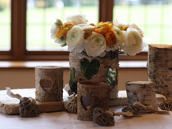 Wedding table decor popup dinner brooklyn pinterest wedding rustic wedding table decorations using our bark containers and tea light holders rustic wedding table decorations for a barn or farm house wedding venue junglespirit Images