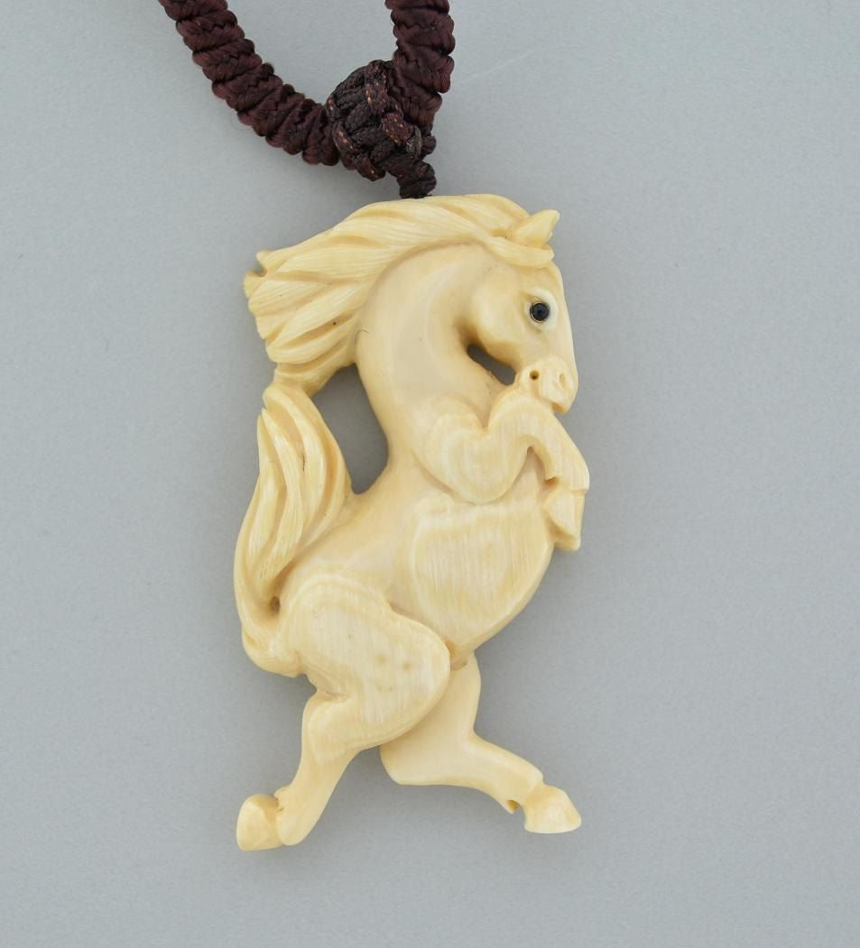 Carved Horse Pendant Fossilized Woolly Mammoth Ivory Symbol Of Prosperity Bone Carving Wooly Mammoth Mammoth
