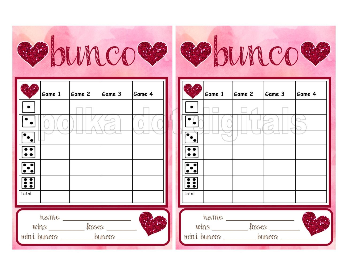 Buy 2 Get 1 Free Glitter Hearts Valentine S Complete Set Bunco Score Card Sheet Matching Table