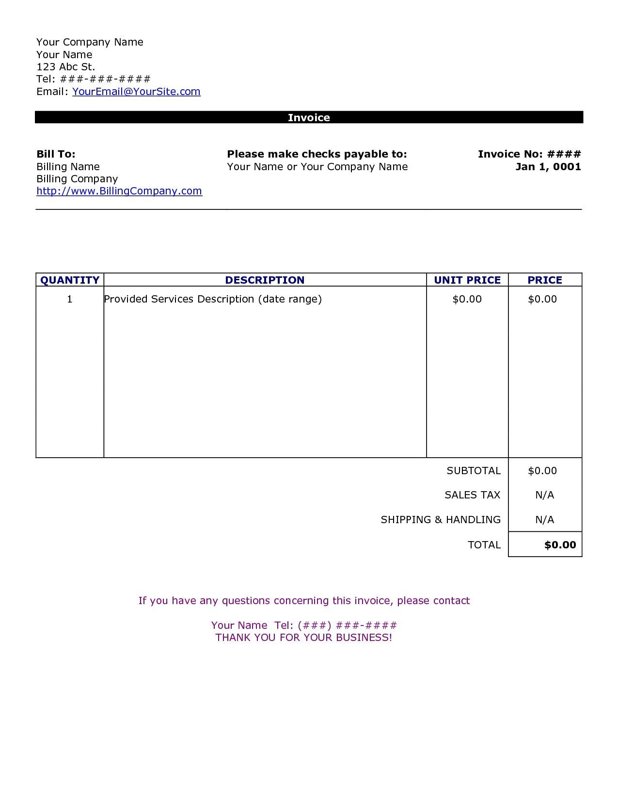 Blank Invoice Template Microsoft Word Invoice Template Free 2016