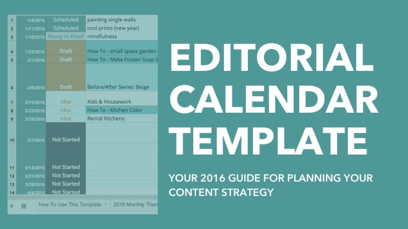 2018 Editorial Calendar Template Download