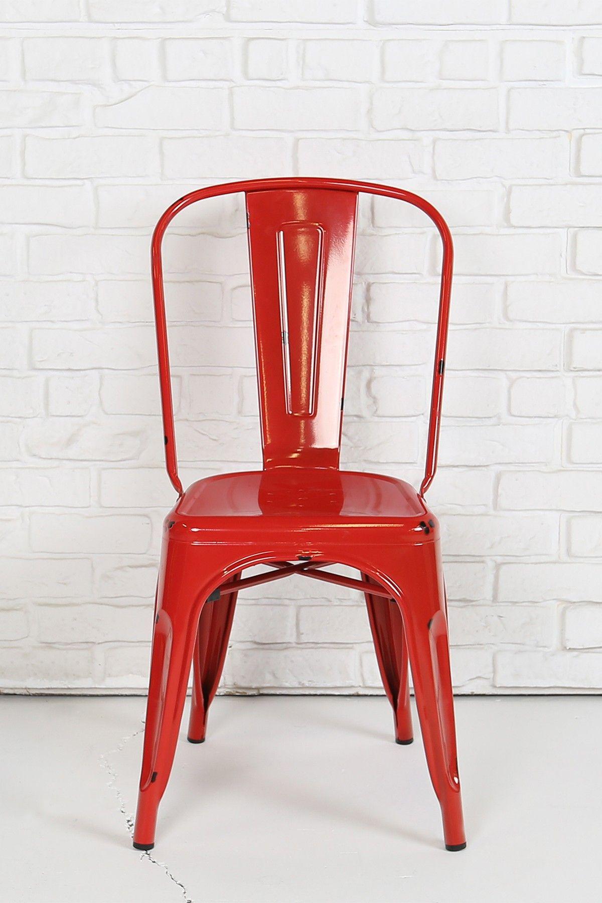 Walker Edison Furniture pany Red Stackable Metal Cafe Bistro