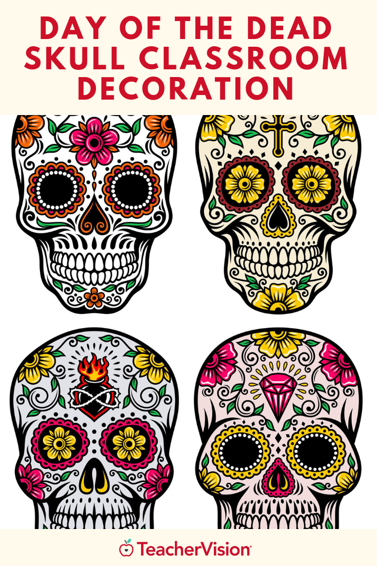 Printable Skull Decoration For Dia De Los Muertos Day Of The Dead Art Activity Day Of The Dead Coloring Pages Skull Decor