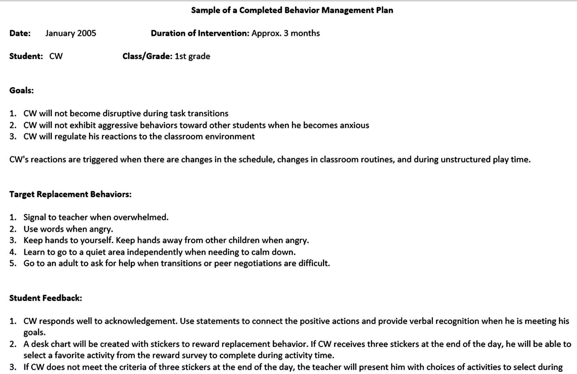 Behavior Modification Plan Template In
