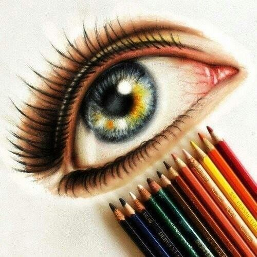 Blue Eye Drawing Colored Pencil