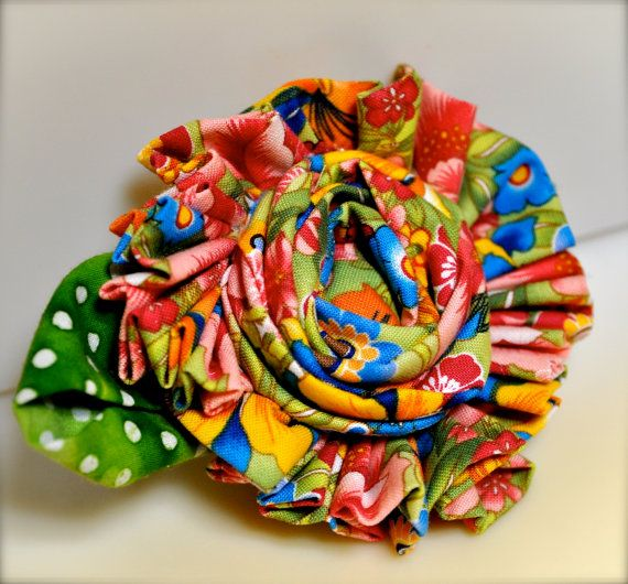 Colorful print large flower clip and pin by TutusChicBoutique, $19.00