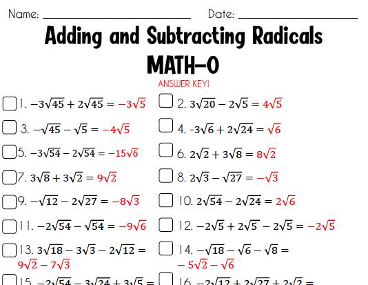 Adding And Subtracting Radicals Bingo Freebie Adding And Subtracting Subtraction Math Resources