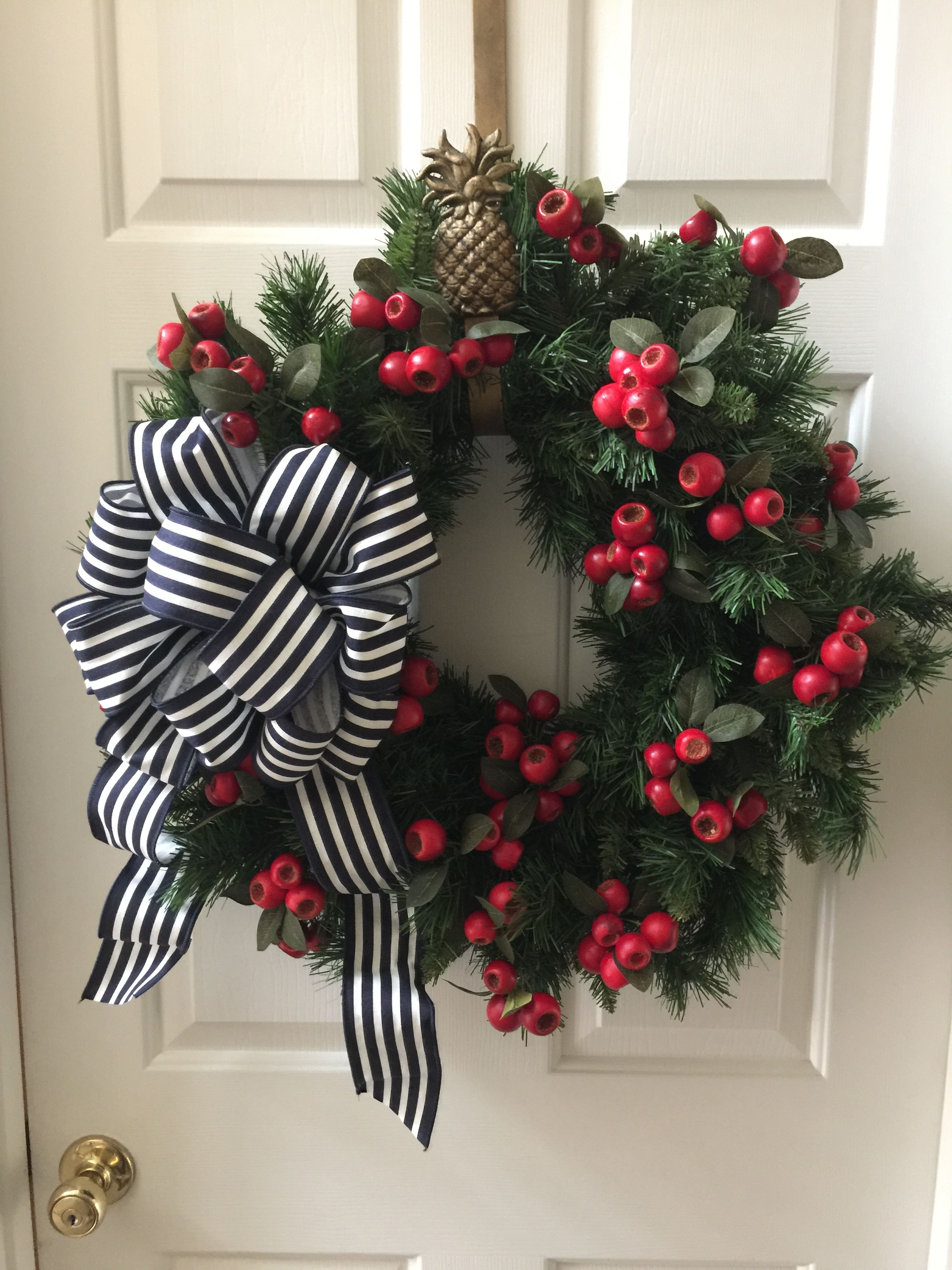 Christmas Wreath With Black And White Stripe Striped Ribbon Bow And Red Berries White Christmas Wreath Christmas Floral Decor Christmas Floral