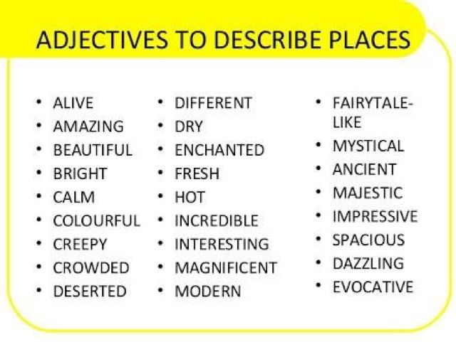 نتيجة بحث الصور عن Adjectives To Describe Places List Con