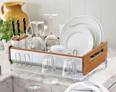 Bamboo Trim Dish Rack Nifty Dish Racks Kitchen Decor