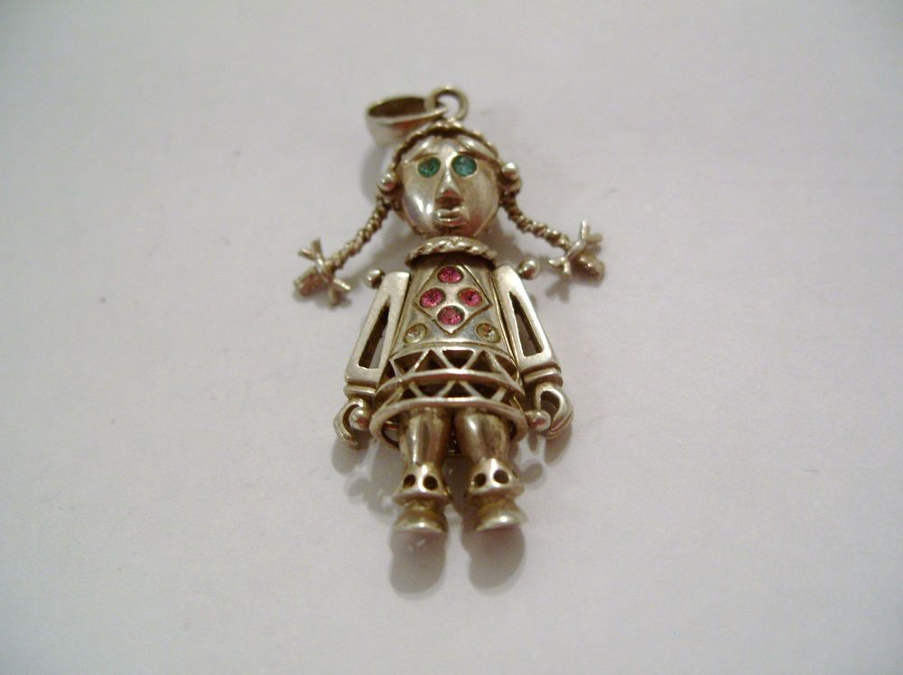Sterling silver jointed moving pollyanna rag doll pendant or charm sterling silver jointed moving pollyanna rag doll pendant or charm mozeypictures Images