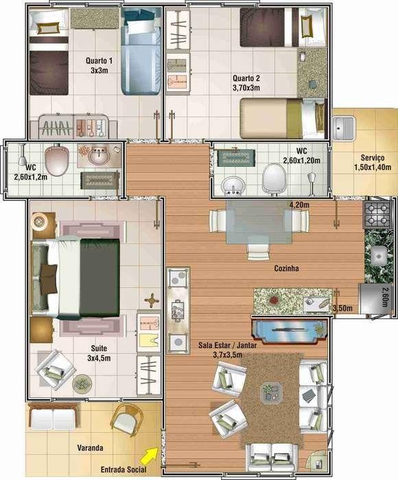 planos de casas pequenas con 3 habitaciones