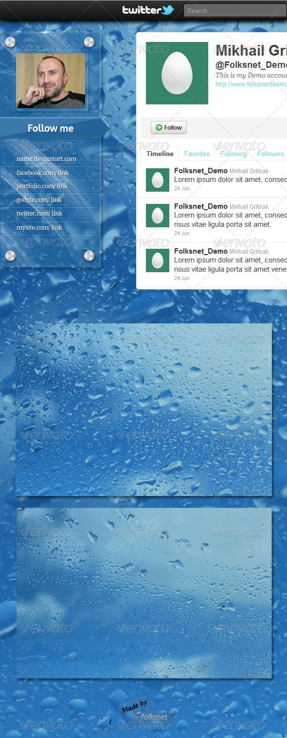 Wet Glass Twitter Background