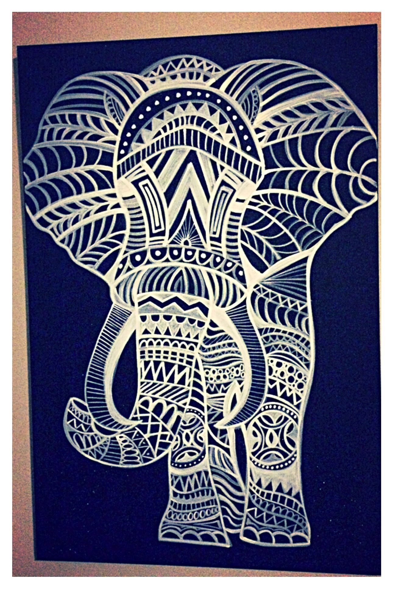 Elephant On Black Canvas With Tribal Like Designs White