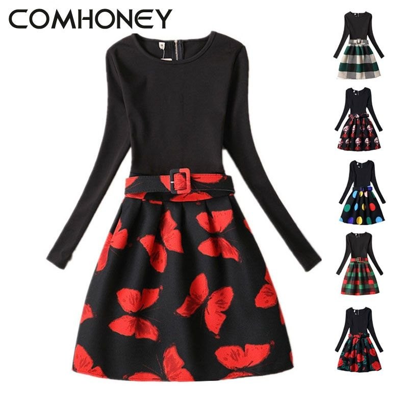 c0147c901 Girls Dress Winter Long Sleeve Flower Black Red Teenagers Girls ...