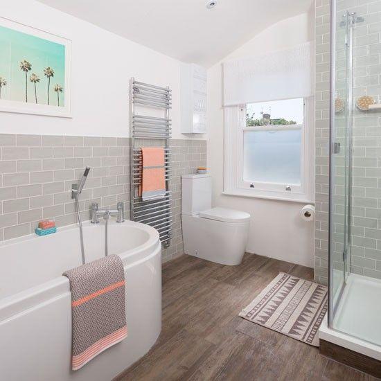 White Bathroom Designs, Peach And Gray Bathroom Decor