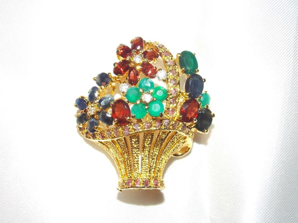 NATURAL GEMSTONE GOLD VERMEIL FLOWER BASKET BROOCH #Unbranded