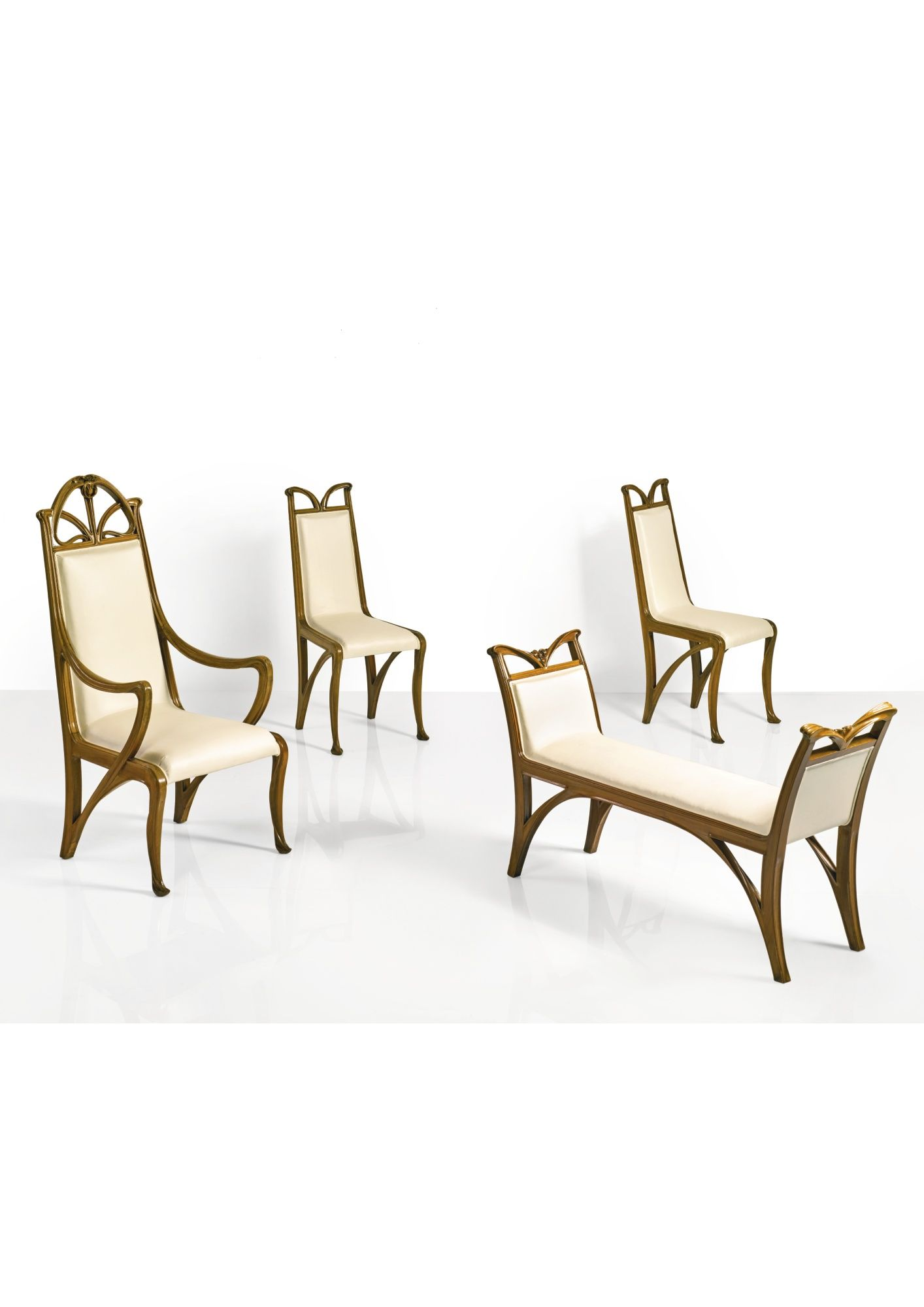 modern art nouveau furniture. Louis Majorelle ARMCHAIR AND PAIR OF CHAIRS Walnut And Fabric Upholstery · Art Nouveau Modern Furniture E
